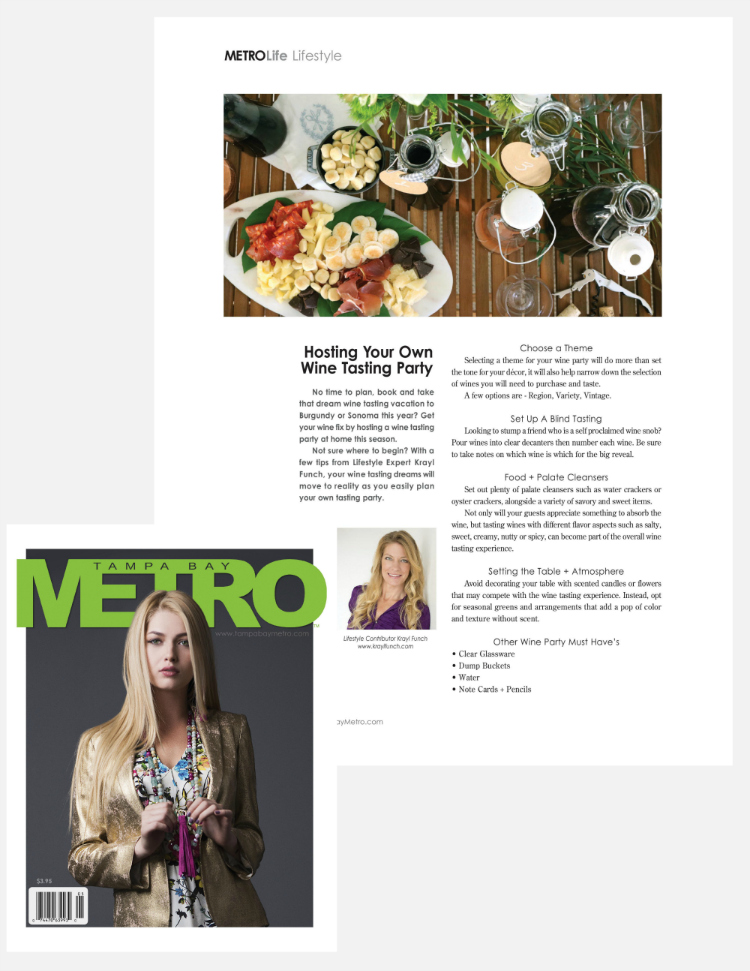 How to host your own wine party. Krayl Funch feature in Tampa Bay Metro Magazine spring issue