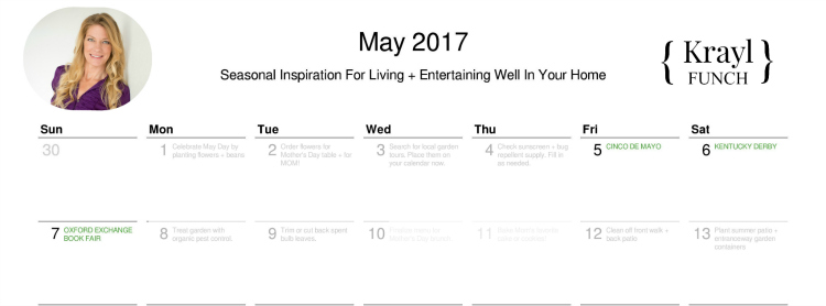 printable May 2017 calendar by krayl funch
