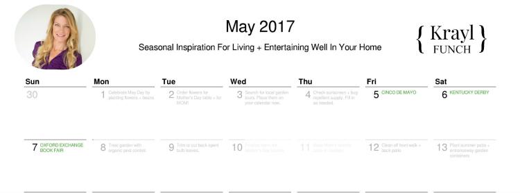 printable May 2017 calendar by krayl funch