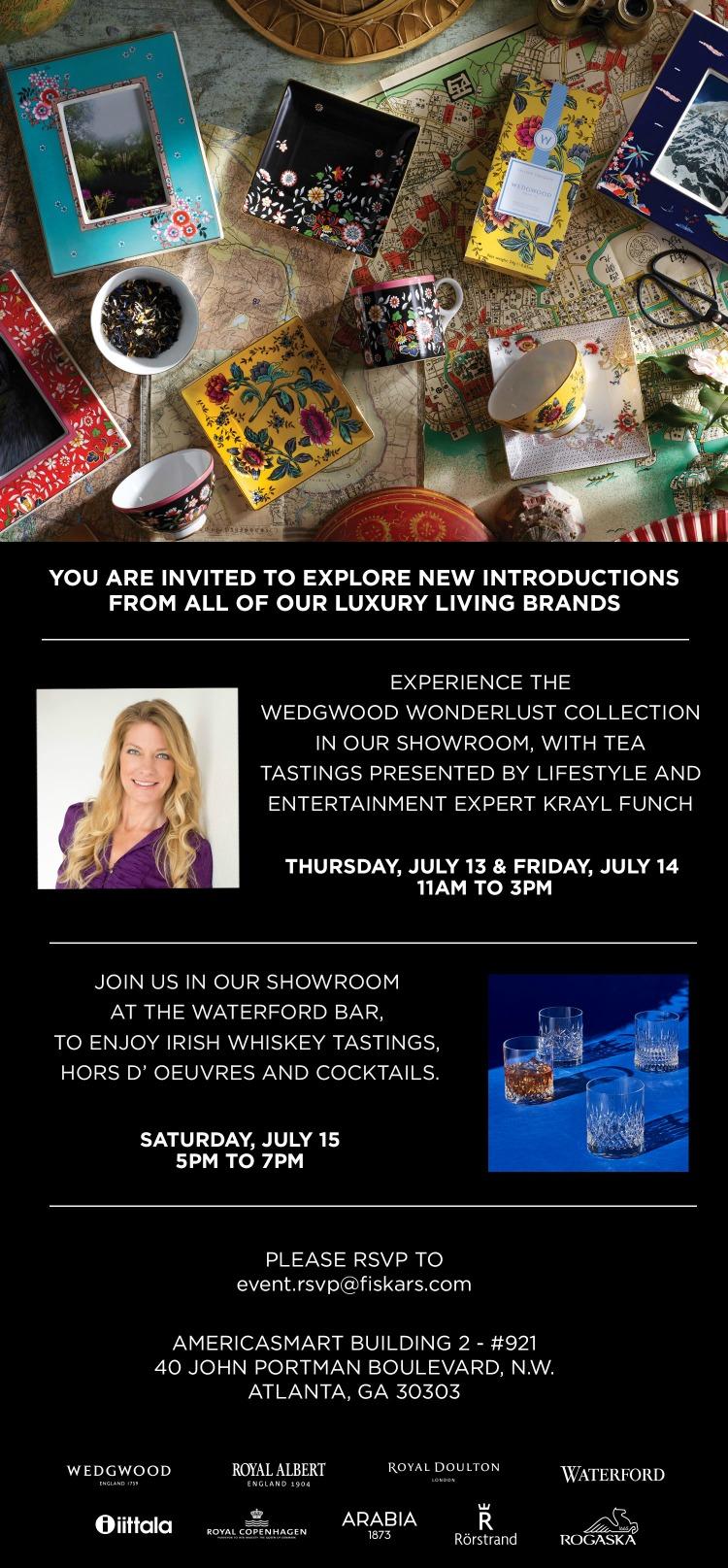 Atlanta Americas Mart Wedgwood Wonderlust Event Invite with Krayl Funch July2017