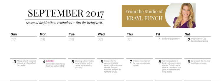 The September 2017 Calendar – Seasonal Inspiration, Tips + Reminders.