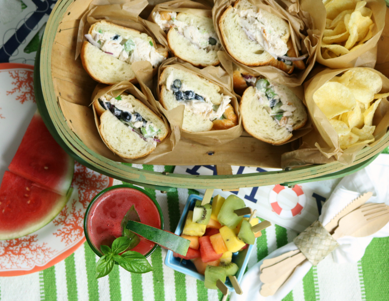 blueberry chicken salad on croissants recipe and entertaining tips for a summer gathering